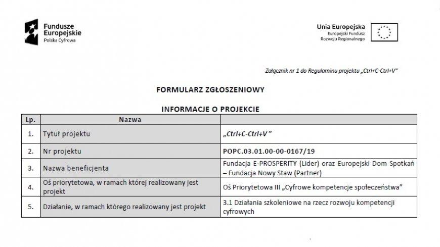 """Bezpłatne Szkolenia IT w ramach projektu """"Ctrl+C - Ctrl+V"""""""