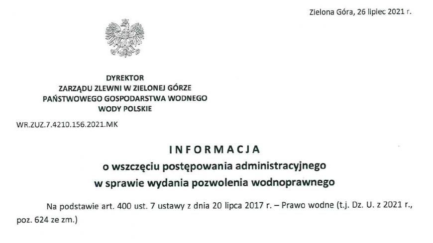 Informacja Państwowego Gospodarstwa Wodnego Wody Polskie o wszczęciu postępowania administracyjnego w sprawie wydania pozwolenia wodnoprawnego - WR.ZUZ.7.4210.156.2021.MK