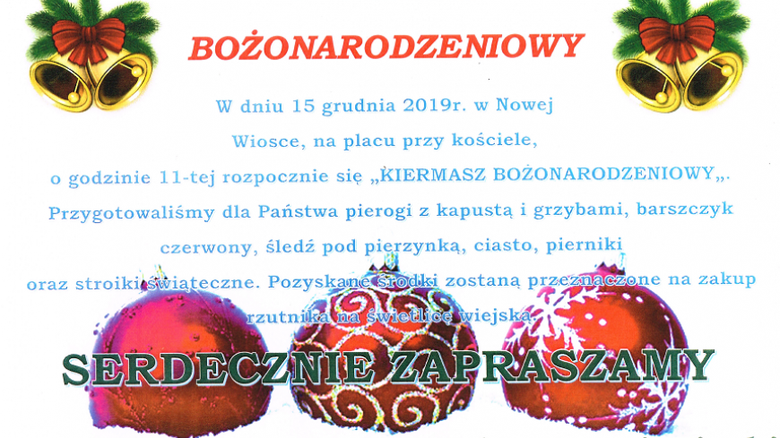 Zaproszenie na kiermasz bożonarodzeniowy w Nowej Wiosce